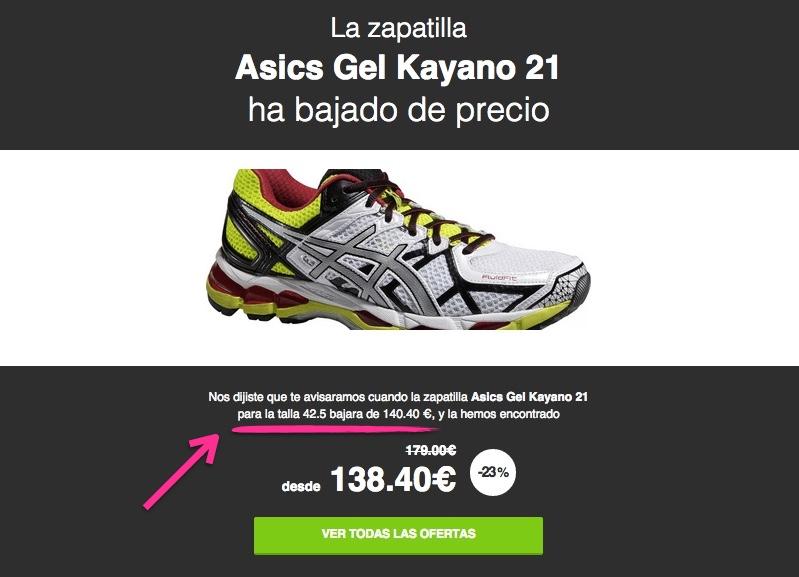 Ejemplo de mail de alertas de precio de zapatillas de running con filtro por tallas