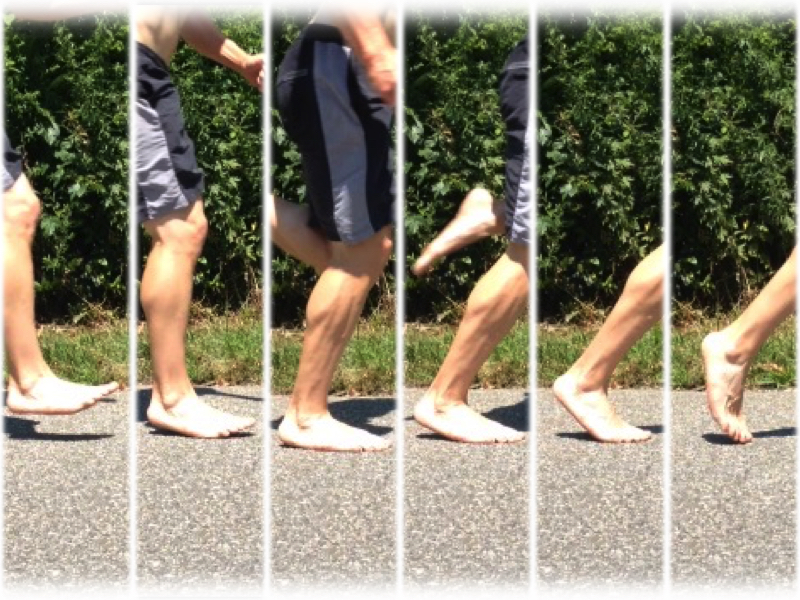 Barefoot footstrike collage