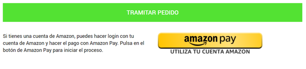 Tramitar pedido con Amazon Pay